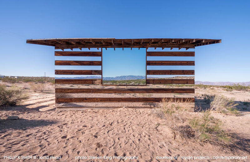lucid stead by phillip k smith iii transparent cabin wood and glass joshua tree national park 2 This Light Bending Cube of One Way Mirrors Will Really Trip You Out