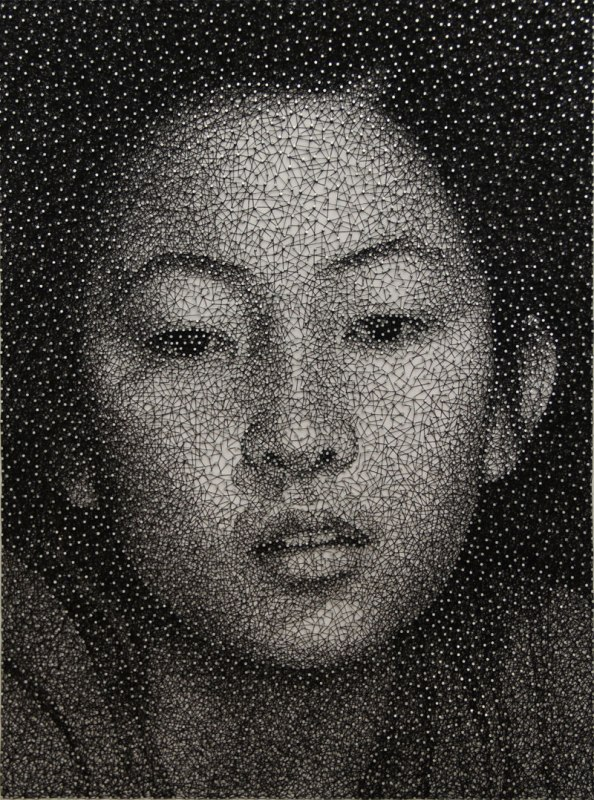 portraits made from single thread wrapped around nails kumi yamashita 1 This Was Made from Multiple Layers of Precision Cut Packing Tape