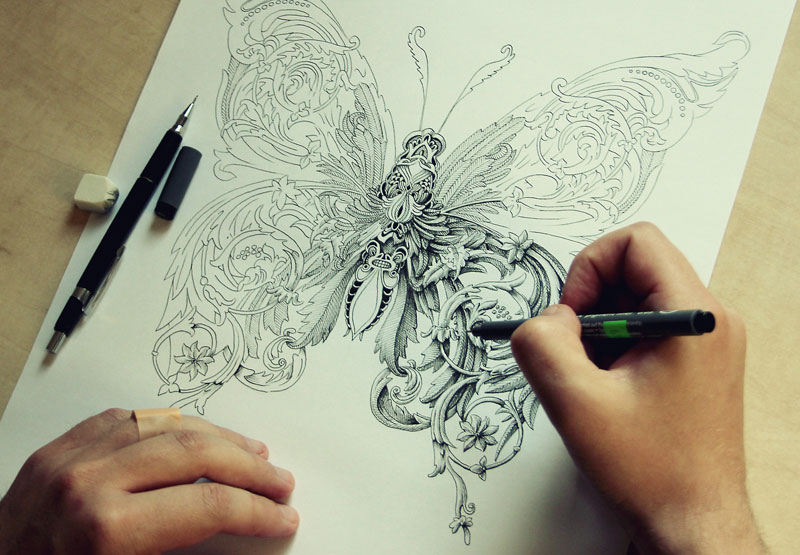 alex konahin ink illustrations 4 Hyperrealistic Artworks Surrounded by the Supplies Used to Create Them