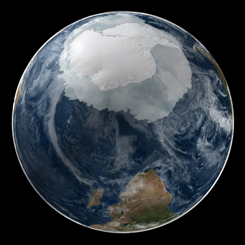 Image via Twisted Sifter; NASA image of Antarctica, available at Flickr Commons