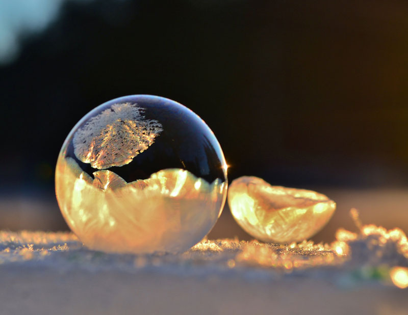 Mother and Son Blow Bubbles in Freezing Cold and Discover Something Beautiful