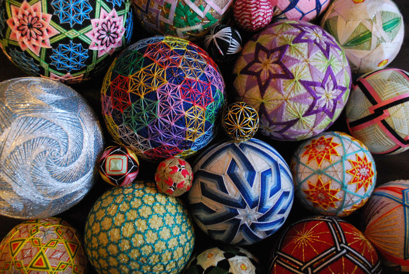 embroidered temari balls japan 1 Susanna Bauer Crochets Fallen Leaves Into Amazing 3D Artworks