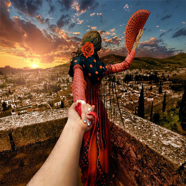 Girlfriend Continues to Lead Photographer Around the World
