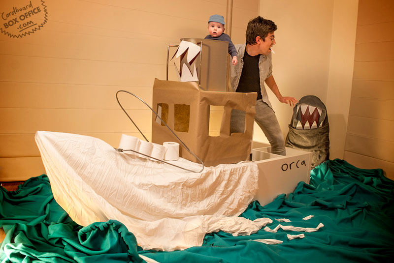 jaws Parents Recreate Movie Scenes with baby Son and cardboard