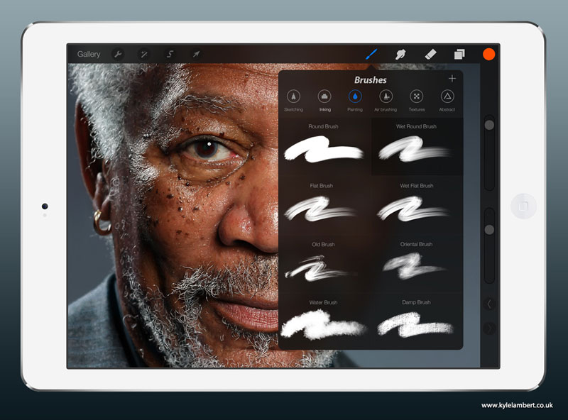 kyle lambert morgan freeman ipad finger painting brushes This Was Made with a Finger and 285,000 Brush Strokes... on an iPad
