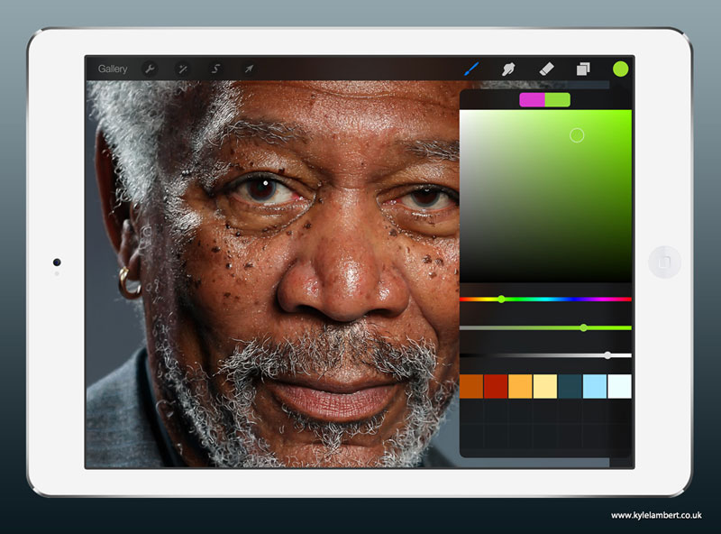 kyle lambert morgan freeman ipad finger painting color This Was Made with a Finger and 285,000 Brush Strokes... on an iPad