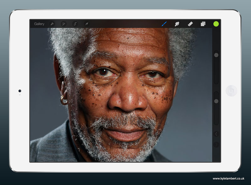 kyle lambert morgan freeman ipad finger painting This Was Made with a Finger and 285,000 Brush Strokes... on an iPad