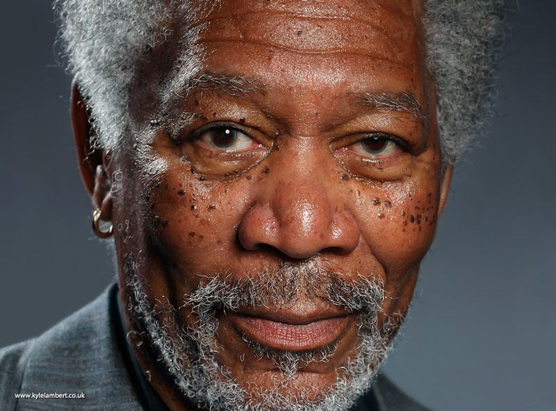 kyle lambert morgan freeman photorealistic ipad painting This Artist Only Uses Her Fingers to Paint and the Results are Amazing