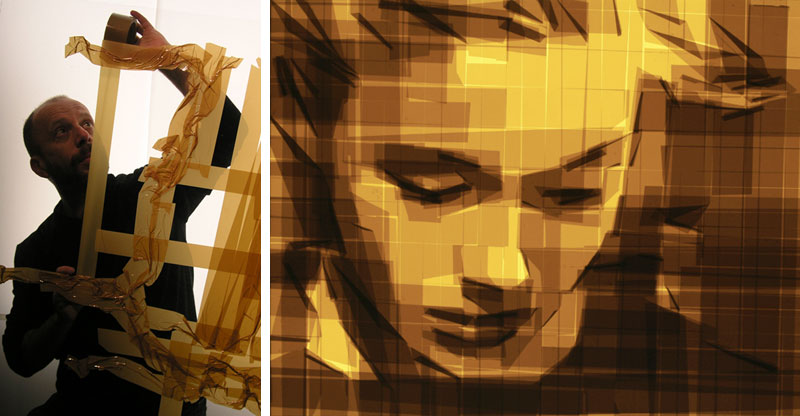 mark khaisman packing tape art This Artist Wrapped 24 km of Thread Around 13,000 Nails to Create This