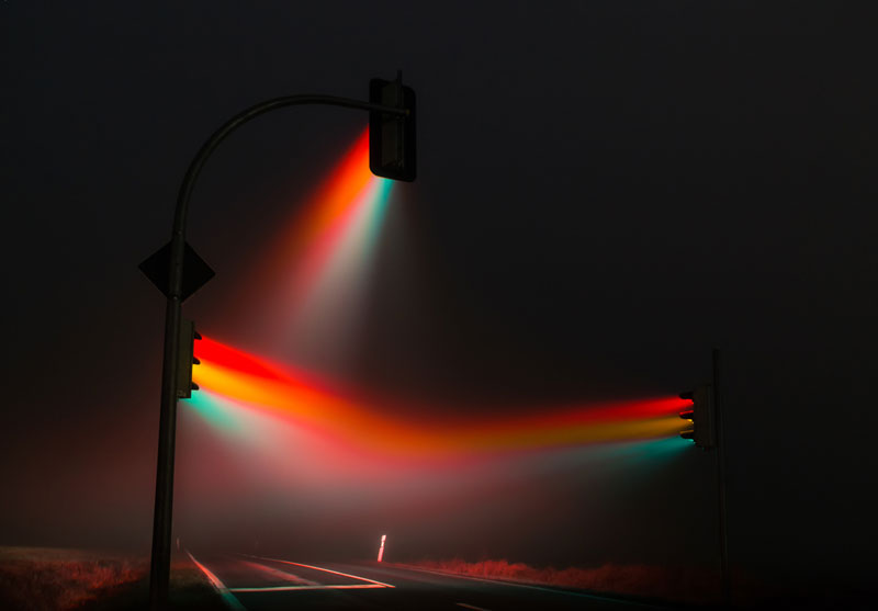traffic lights in the fog long exposure by lucas zimmerman 1 Night Time Landscape Photos Completely Illuminated by Moonlight