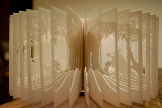 360 story book cutouts by yusuke oono 1 Paper Cut Shadow Boxes Illuminated by Light