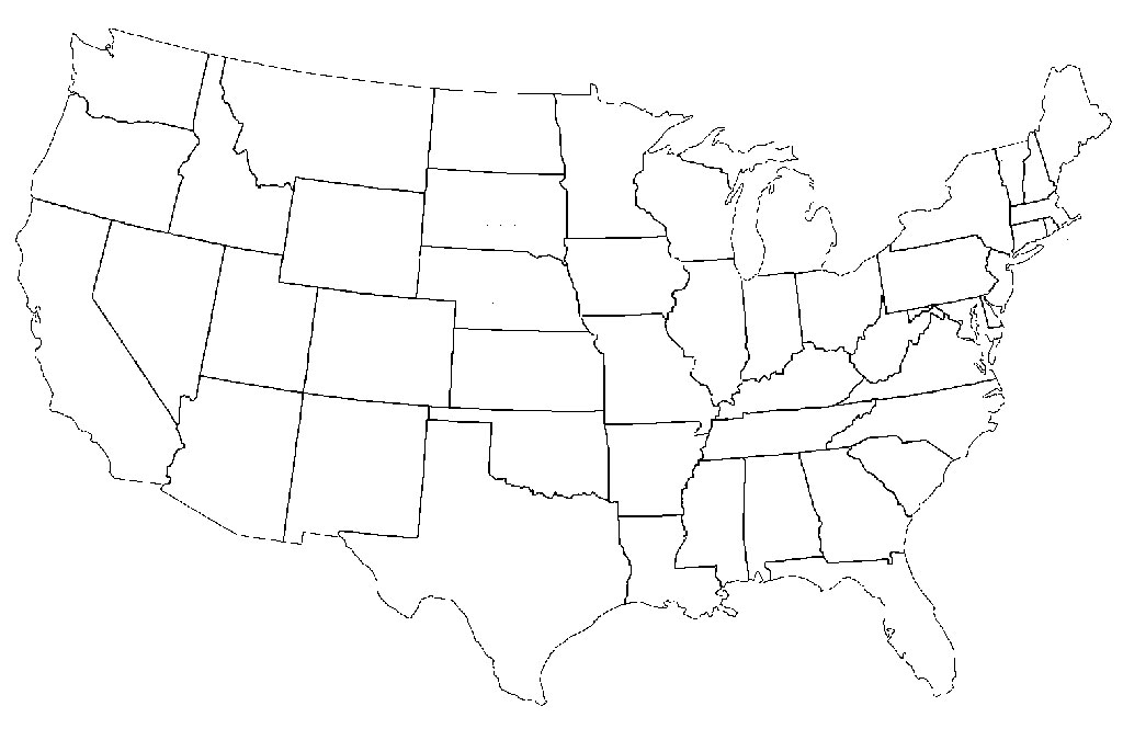 Drawing A Us Map Globalinterco - Us map with states outlines 8 1 2 x 11
