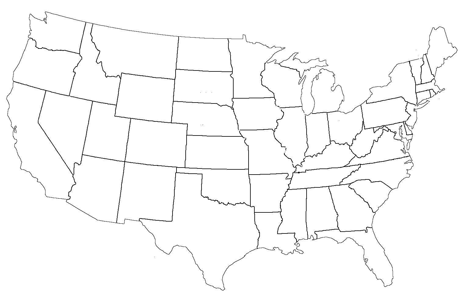 This is a photo of Lucrative Printable Blank United States Map