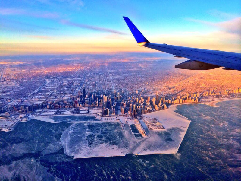 chicago aerial skyline from airplane polar vortex 2014 Picture of the Day: The Wind Chilled City