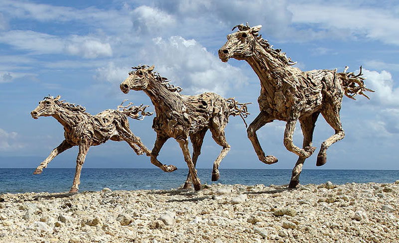Galloping horses made from driftwood twistedsifter for How to work with driftwood