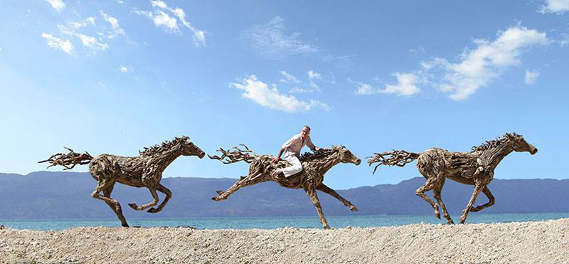 galloping horses made from driftwood by james doran-webb (5)