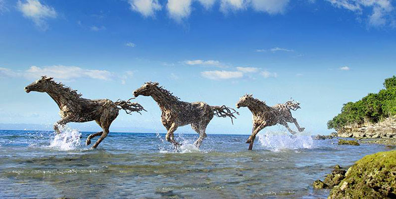 galloping horses made from driftwood by james doran-webb (6)