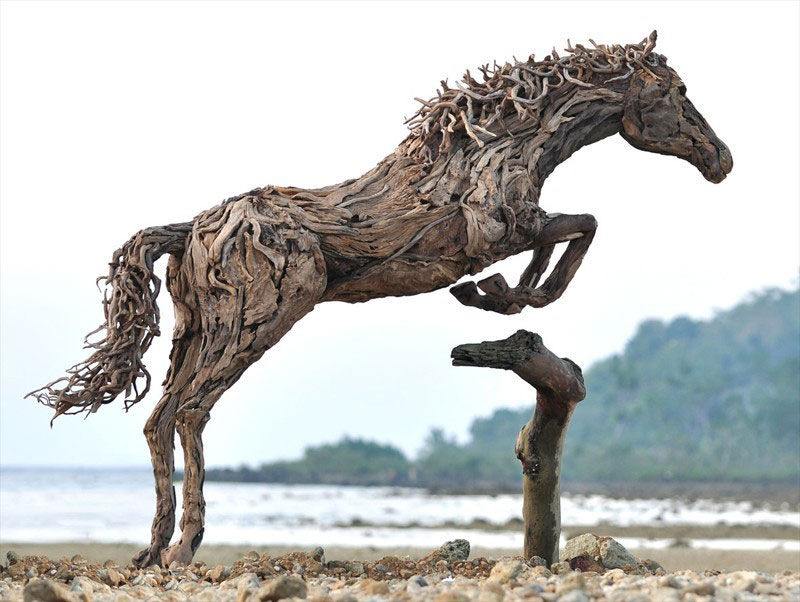 galloping horses made from driftwood by james doran-webb (8)