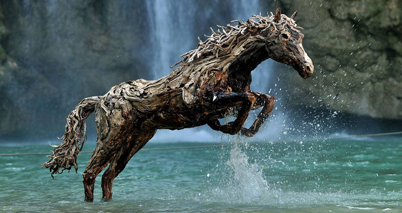Galloping Horses Made from Driftwood