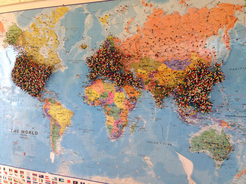 {SmallTown Restaurant Asks Guests to Pin Where Theyre From on a – World Map Travel Pins