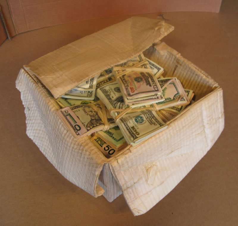 randall rosenthal carves a block of wood into a box of money (17)