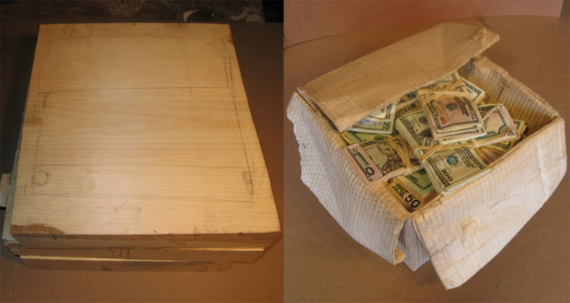 randall rosenthall carves a block of wood into a box of money A Block of Wood Carved Into a Stack of Papers and Magazines