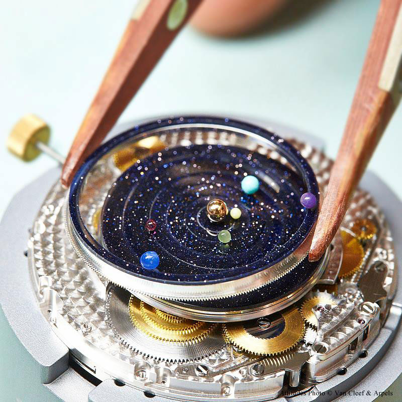 wristwatch shows solar system planets orbiting around the sun (1)