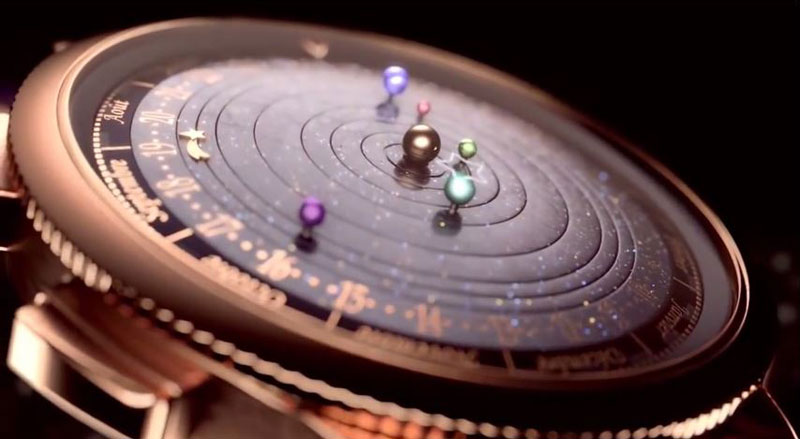 Good wristwatch shows solar system planets orbiting around the sun