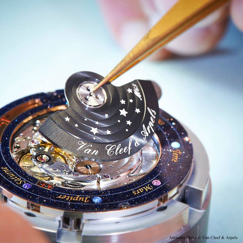 wristwatch shows solar system planets orbiting around the sun (2)