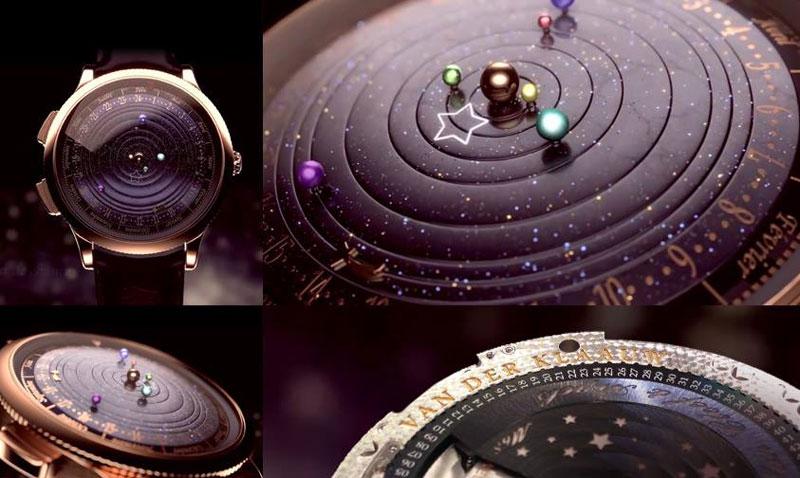 wristwatch shows solar system planets orbiting around the sun (3)