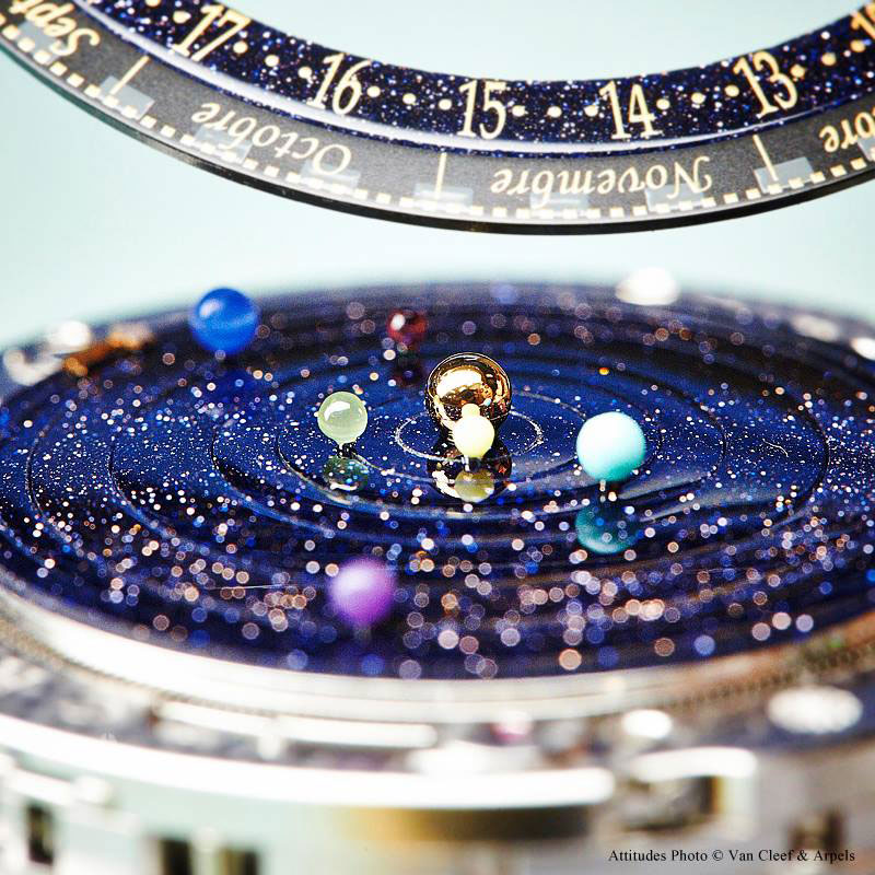 wristwatch shows solar system planets orbiting around the sun (6)