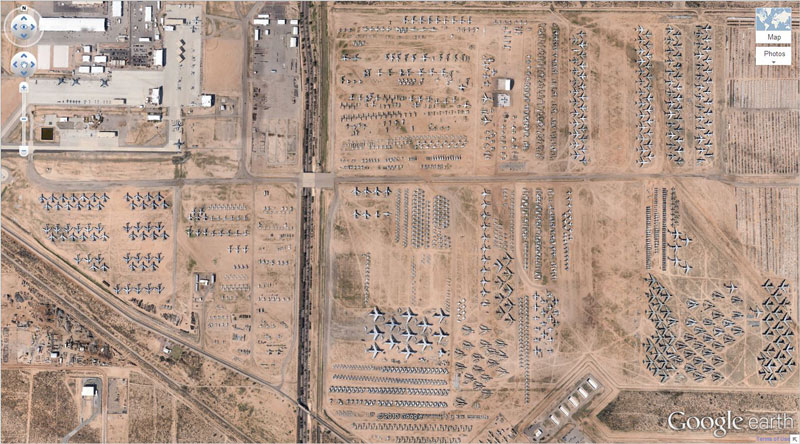 airplane boneyard tucson arizona google earth