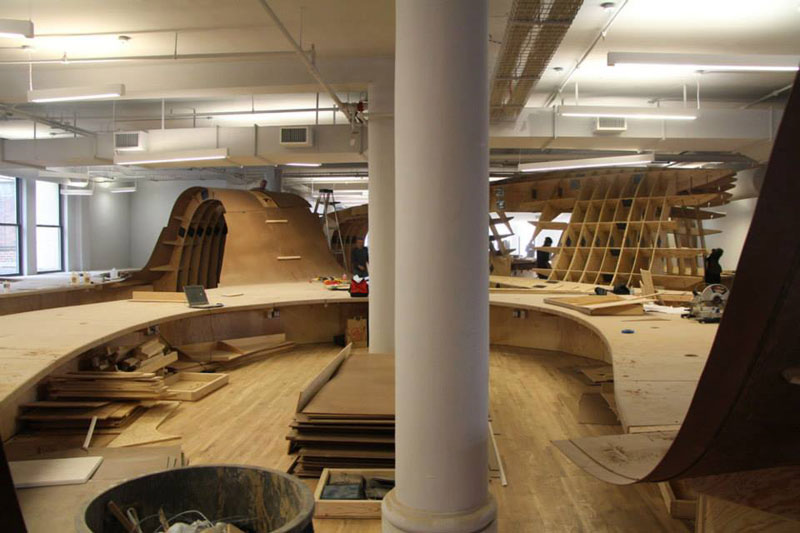barbarian group nyc superdesk one giant office desk by clive wilkinson architects machineous 2