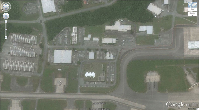 batman symbol google earth