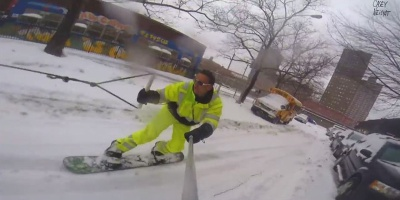 What Do You Do After a Snowstorm in New York City? Go Snowboarding