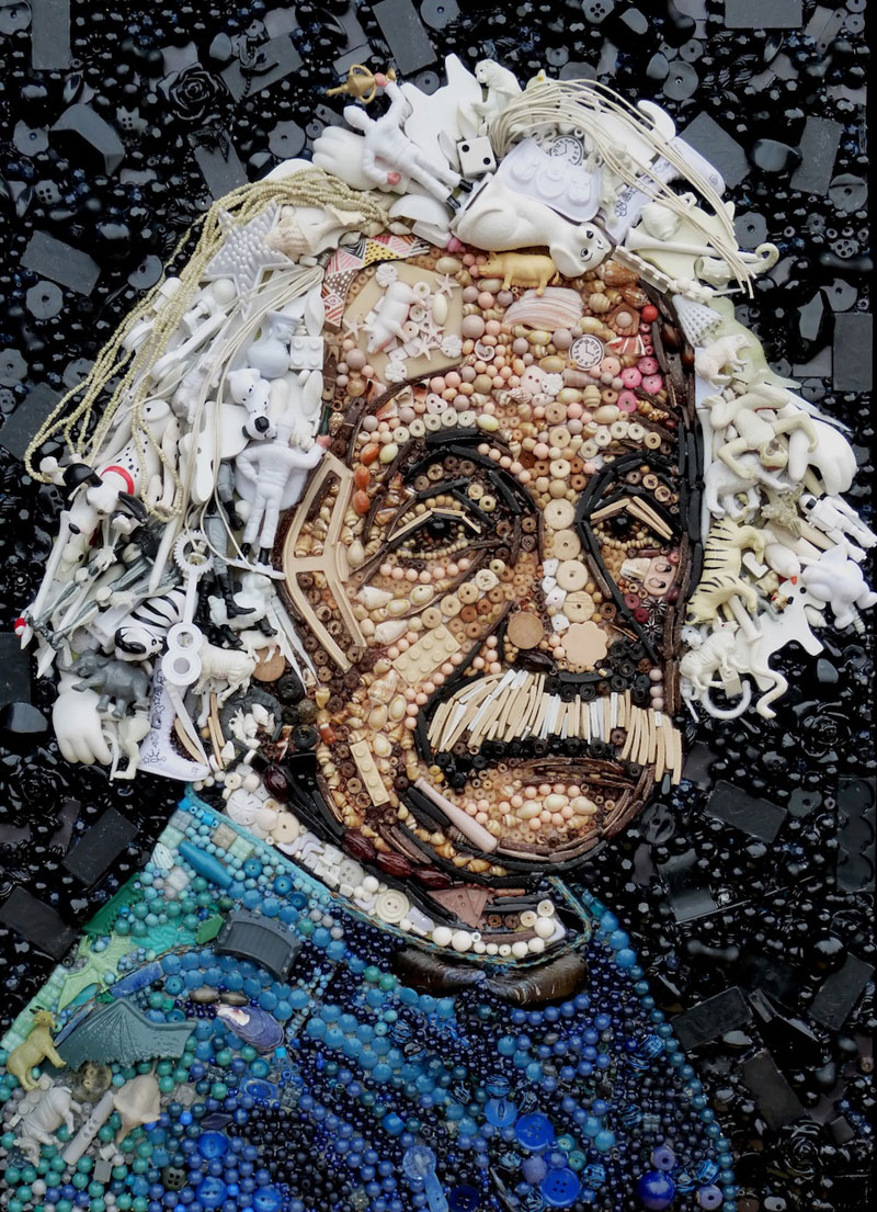 Famous Portraits Recreated from Recycled materials and found Objects by Jane Perkins  (2)