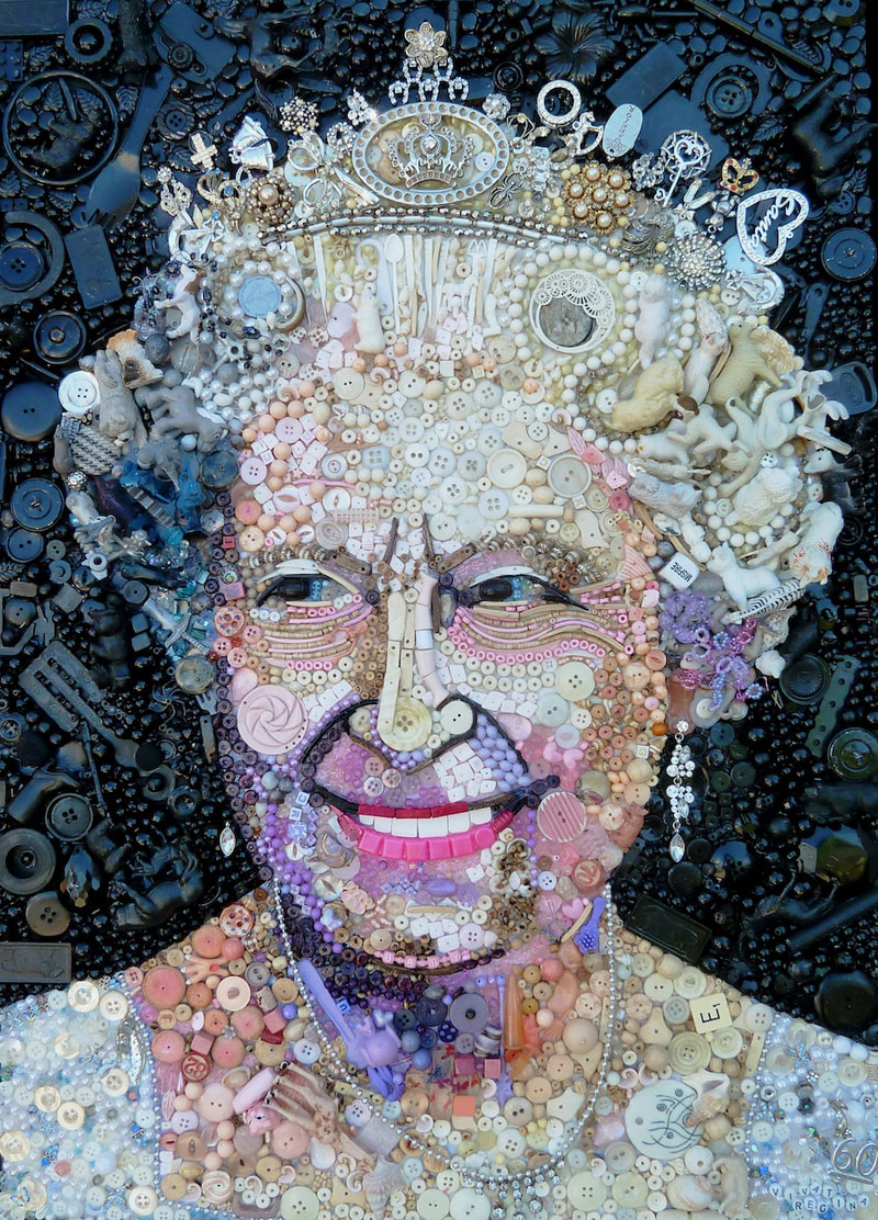 Famous Portraits Recreated from Recycled materials and found Objects by Jane Perkins  (3)