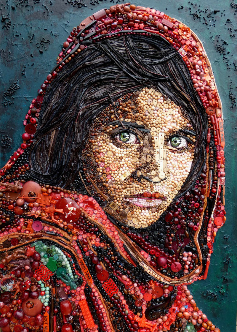 Famous Portraits Recreated from Recycled Materials and Found Objects