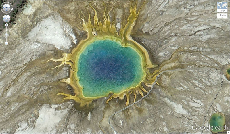grand prismatic spring yellowstone natonal park on google earth This Million Square Foot Artwork in the Sahara is Still Visible After 17 Years