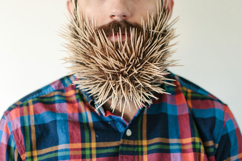 This Guy Takes Photos with Random Things in his Beard because HeCan
