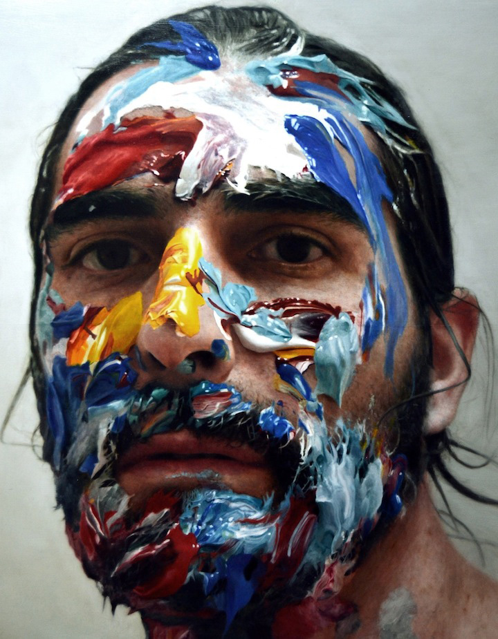 Artist Paints Portraits Of Paint On His Face