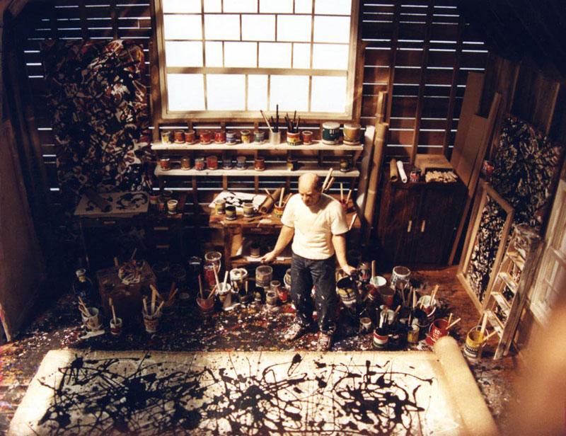 jackson-pollock in studio miniature model diorama by joe fig