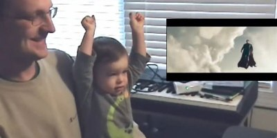 Father and Son Watch Superman's First Flight in Man of Steel. AwesomenessEnsues