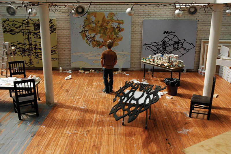 matthew-ritchie in studio miniature model diorama by joe fig