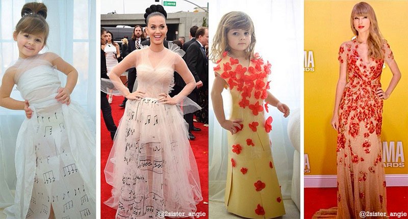 Mother and Daughter Recreate Paper Versions of Dresses Worn byCelebs