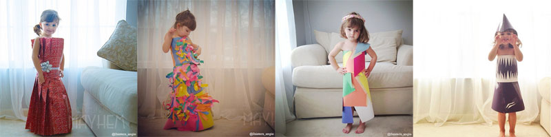 mother daughter make paper dresses Mother and Daughter Recreate Paper Versions of Dresses Worn by Celebs