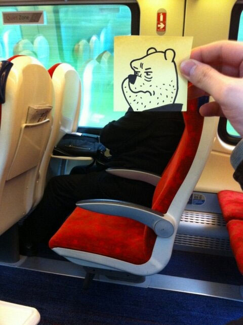 October Jones Gives People Cartoon Faces On Train Ride To Work 13