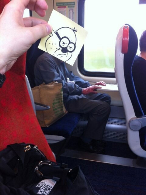 october jones gives people cartoon faces on train ride to work (7)