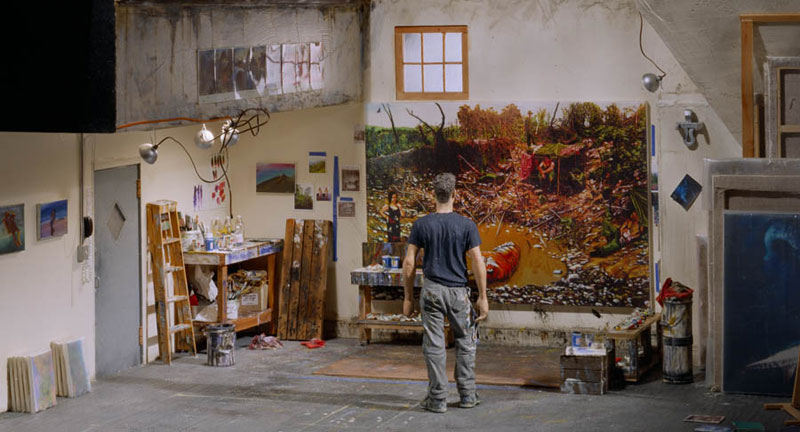 steve-mumford in studio miniature model diorama by joe fig