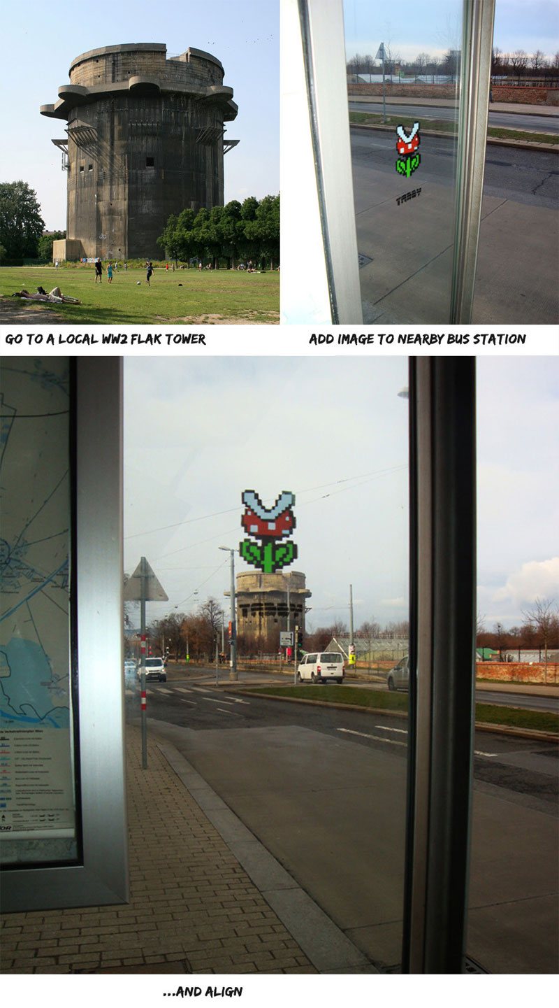 strategically-placed-street-art-by-tabby-super-mario-piranha-plant at bus stop